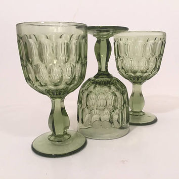 Green Glass Goblets, Fenton Colonial Green Thumbprint Goblets Set of 3, Vintage Wine Glasses, Colored Goblets