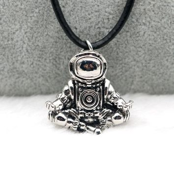 Spaceman Necklace Meditation Astronaut Pendant Universe Cosmic Nebula Real Black Leather Rope Chains Men Women Necklace