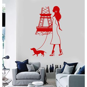 Vinyl Wall Decal Paris Girl Woman Eiffel Tower Dog French Stickers Unique Gift (ig3688)
