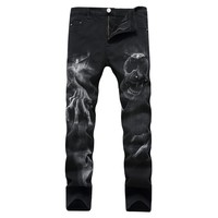 Men Black Stretch Casual Slim Pattern Jeans [127702499357]
