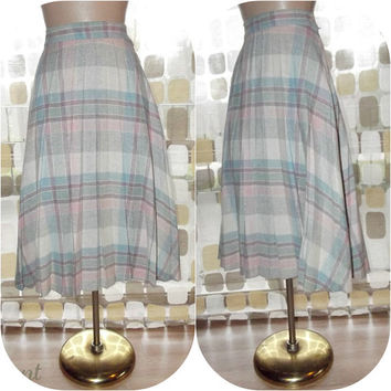 "Vintage 70s Wool Tartan Plaid Full Pleated Skirt 9 Pastel Pink Blue 27"" Waist"