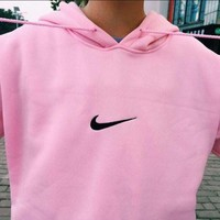 """Nike""Trending Women Men Loose Print Hoodie Tops Long Sleeve Sweater Sweatshirts(5-Color) Pink I"