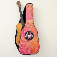 White and Black Zigzags on Pink Guitar Case