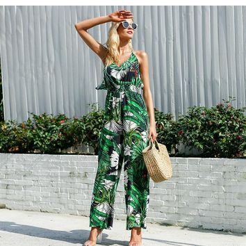 Palm print jumpsuit with ruffle