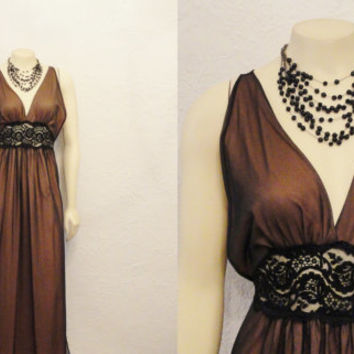 Vintage Nightgown 60s Intime Negligee Greek Goddess Mad Men Brown & Black Chiffon Old Hollywood Glamour  Modern Small Medium Large RARE