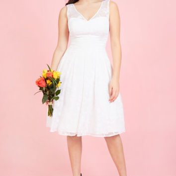 Bestowed With Beauty Fit and Flare Dress in Ivory | Mod Retro Vintage Dresses | ModCloth.com