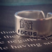 Focus camera for photographers 3/8 inch wide aluminum ring cuff style