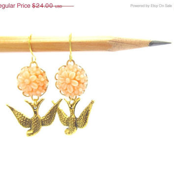 ON SALE Brass Bird with coral peach resin flower  Earrings, adorable and pretty, great gift, , feminine pretty
