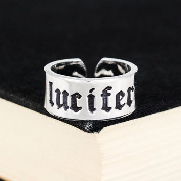 Lucifer Ring - Satanic - Death Metal - Inverted Cross - Aluminum Cuff Ring