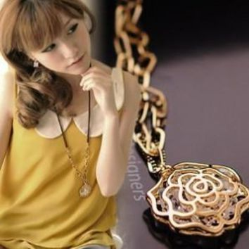 Tomtosh Stylish and elegant Zircon crystal retro hollow-out sweater chain long Rose Necklace N89