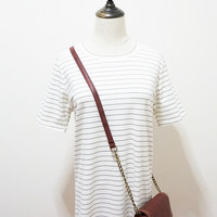 White Pinstripe Short Sleeve Shirt