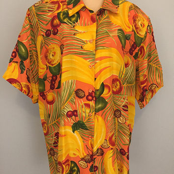 Hawaiian Shirt Luau Clothing Size 3X Womens Shirts Beach Tropical Fruit Short Sleeve Vacation Cruise Bananas 2X Womens Plus Size Clothing