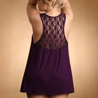 Plus Size Lingerie | Plus Size Soft & Comfy Cotton Tank Dress With Lace Back | Hips & Curves