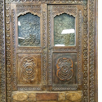 Mirror Window Jharokha Rustic Wood Furniture Hand Carved- India Architectural