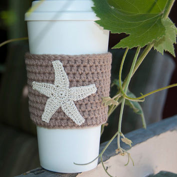 Coffee cozy, coffee sleeve, soft taupe sleeve, natural beige starfish, crocheted seastar, cup sleeve