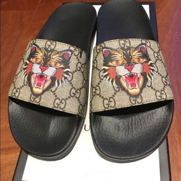 Gucci slides brand new slippers Tiger Women Men Shoes