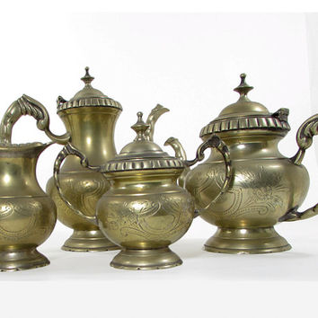 Brass Afternoon Tea Service: Teapot, Coffee Pot, Creamer and Sugar Bowl 4 Piece Set Shabby