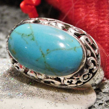Turquoise Ring Vintage Ring Sterling Silver 925 High Dome Domed Fancy Filigree Scroll Work Southwestern Western Gemstone Gem Statement Ring