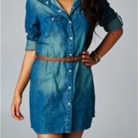 Love Stitch Belted Denim Shirt Dress IMP7947