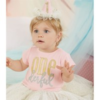 Ivory & Gold Mesh Tutu from Mud Pie