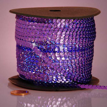 Lavender Light Purple Holographic Faceted Extra Sparkle String 6mm x 80 yards Sequins