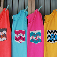 Neon and Bright Monogrammed Pocket Tank Top