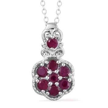 Burmese Ruby Platinum Over Sterling Silver  Pendant With Chain