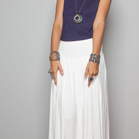 Maxi Skirt - Long Off White Skirt : Autumn Thrills Collection