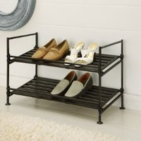 Organize It All Ebonize 2-Tier Shoe Rack in Espresso