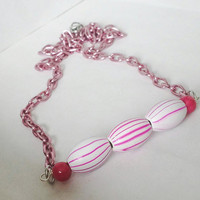 Pink and white striped wooden tube beaded bar necklace, bar necklace, wooden jewelry, pink necklace, striped necklace, fun jewelry, wooden