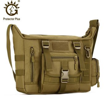 Protector Plus 14inch Laptop, Waterproof Military Tactical Crossbody Bag, Men's Messenger Bag, Outdoor Travel Sling Shoulder Bag