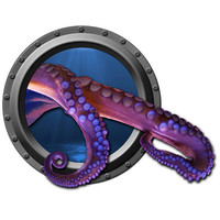 Break Through Octopus Tentacle Porthole Wall by WilsonGraphics