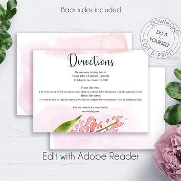Blush Floral Directions PDF, Shabby Chic, Whimsical, Details Template, Wedding Insert Card, Wedding Info Card, Wedding Directions