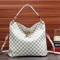 LV Fashion Women Shopping Bag Leather Satchel Shoulder Bag Handbag Crossbody White I-KSPJ-BBDL