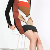 Multicolor Vintage Color Block Sleeveless Dress