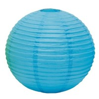 Weddingstar Round Paper Lantern, Medium, Caribbean Blue