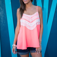 Lace To The Finish Tank, Neon Pink