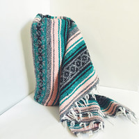 Vintage Mexican Blanket, Serape, Teal, Pink, White, Black, Gray, Boho, Home Decor, Bedding, Throw Blanket, Yoga Mat