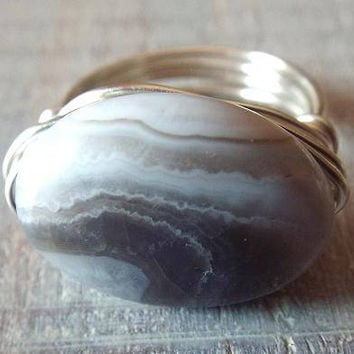 Botswana Agate Ring, Agate Ring, Brown Stone Ring, Wire Wrapped Ring, Unique Ring, Botswana Agate Jewelry, Easter Gift, Oval Stone Ring