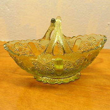 VINTAGE FENTON AMBERINA BUTTON AND DAISY TEN PENNY GREY GLASS DECORATIVE PIECE