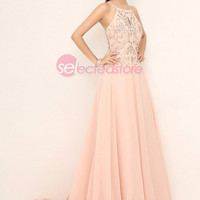 Blush Halter Long Prom Bridal Dress Formal Gown Backless Crystals A-line Sexy