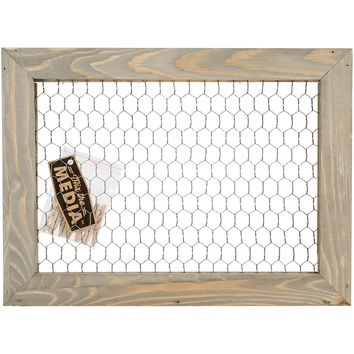 Jillibean Soup Mix The Media Wood Framed Chicken Wire-11X15X1.5 Dark W/6 Clothespin Clips