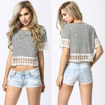 Trendy Style Women Boho Crochet Stripe Crop Tops T-Shirt Blouse Casual O-Neck Loose Tees Short Sleeve T Shirt Women Tops