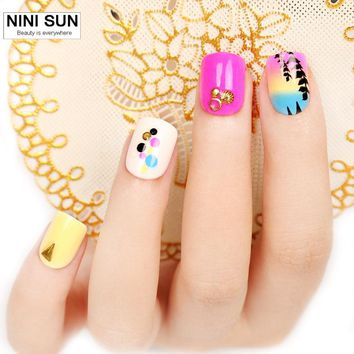 24pcs Nails Tips pre design 3d False Nails Tips Fake Nail Art Tips With Free Glue Product  Faux Ongels  Acrylic Nail Art Tips