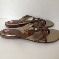 Report Sandals Womens Shoes Size 9 Slides Bronze Gold Suri Sz 9M Thong Flips