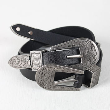 Etched Double Buckle Belt