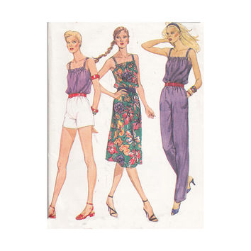Strappy Sundress or Top with Tapered Pants or Shorts McCalls 7082 Size 14 Bust 36 Bloused, Elastic Waist Vintage 1980s Sewing Pattern