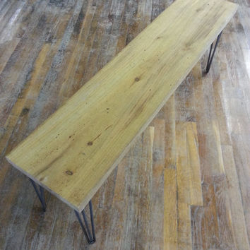 Rustic Reclaimed Wood Bench Salvaged Wood Bench Industrial Legs FREE SHIPPING