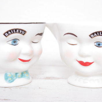 Antique Pair of Whimsical Porcelain Bailey's Monsieur and Mademoiselle Cream and Sugar Caddies