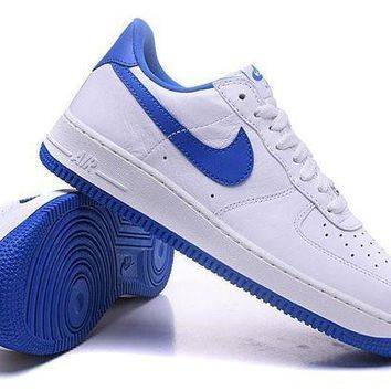 CREYNW6 Nike Air Force 1 One Classic White / Blue Low Running Sport Casual Shoes 845053-102 Sneakers
